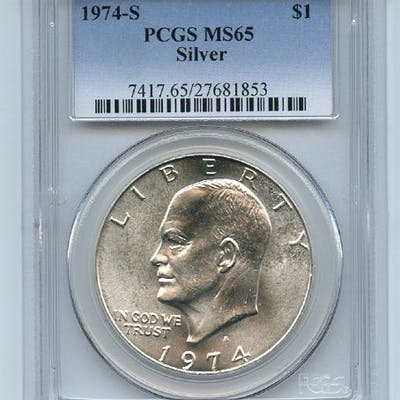1974 S $1 Silver Ike Eisenhower Dollar PCGS MS65 coin