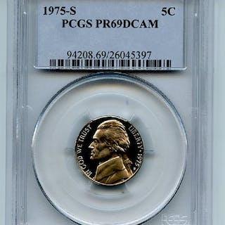 1975 S 5C Jefferson Nickel Proof PCGS PR69DCAM coin
