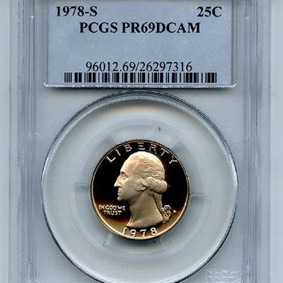 1978 S 25C Washington Quarter Proof PCGS PR69DCAM coin