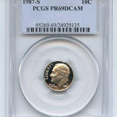 1987 S 10C Roosevelt Dime Proof PCGS PR69DCAM coin