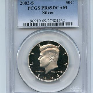2003 S 50C Silver Kennedy Half Dollar PCGS PR69DCAM coin