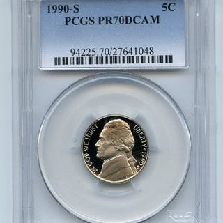 1990 S 5C Jefferson Nickel Proof PCGS PR70DCAM coin