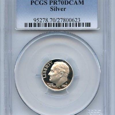 1994 S 10C Silver Roosevelt Dime Proof PCGS PR70DCAM coin