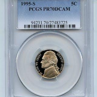 1995 S 5C Jefferson Nickel Proof PCGS PR70DCAM coin