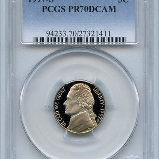 1997 S 5C Jefferson Nickel Proof PCGS PR70DCAM coin