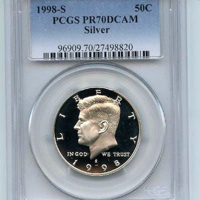 1998 S 50C Silver Kennedy Half Dollar Proof PCGS PR70DCAM coin
