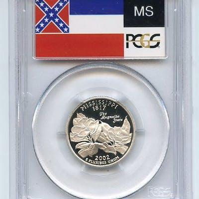 2002 S 25C Silver Mississippi Quarter PCGS PR70DCAM coin
