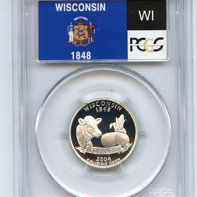 2004 S 25C Silver Wisconsin Quarter PCGS PR70DCAM coin