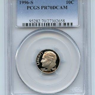 1996 S 10C Roosevelt Dime Proof PCGS PR70DCAM coin