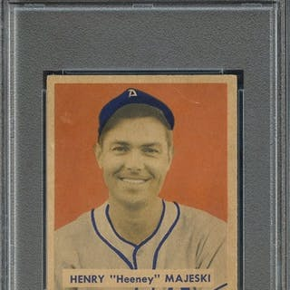 1949 BOWMAN 127 HENRY MAJESKI SCRIPT NAME ON BACK PSA EX-MT 6