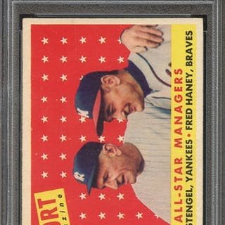1958 TOPPS 475 ALL-STAR MANAGERS C.STENGEL/F.HANEY PSA VG-EX 4