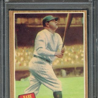 1962 TOPPS 139 BABE RUTH BABE HITS 60 PSA NM 7