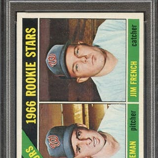 1966 TOPPS 333 SENATORS ROOKIES J.COLEMAN/J.FRENCH PSA NM-MT 8