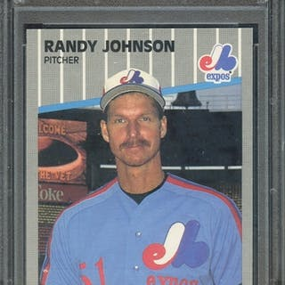 1989 FLEER 381 RANDY JOHNSON AD COMPLETELY BLACKED OUT PSA MINT 9