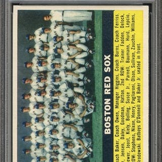 1956 TOPPS 111 RED SOX TEAM GRAY BACK PSA NM-MT 8
