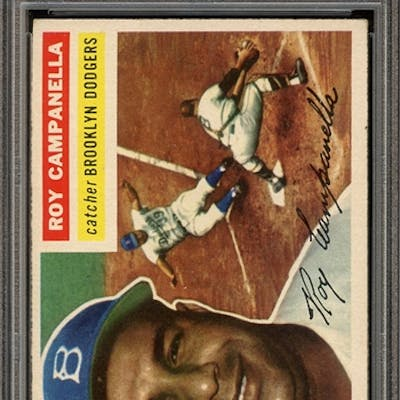 1956 TOPPS 101 ROY CAMPANELLA GRAY BACK PSA EX-MT 6 coin