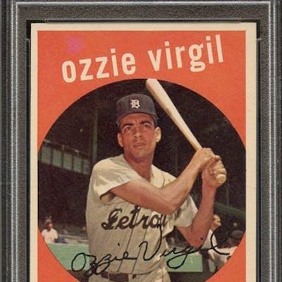 1959 TOPPS 203 OZZIE VIRGIL WHITE BACK PSA NM-MT 8 coin