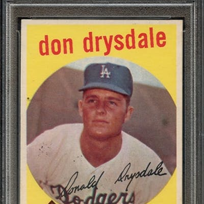 1959 TOPPS 387 DON DRYSDALE PSA EX-MT 6 coin