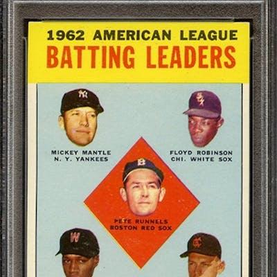 1963 TOPPS 2 AL BATTING LEADERS PSA NM 7 coin