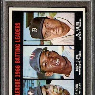 1967 TOPPS 239 AL BATTING LEADERS ROBINSON/OLIVA/KALINE PSA NM-MT 8 coin