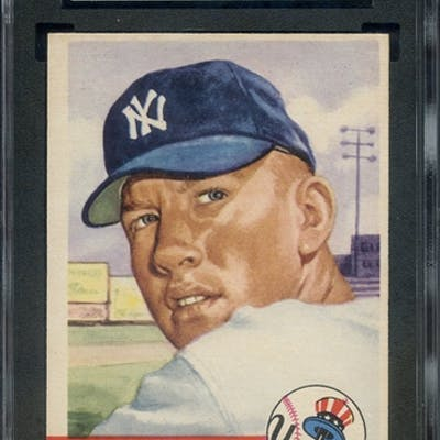 1953 TOPPS 82 MICKEY MANTLE SGC NM 7 coin