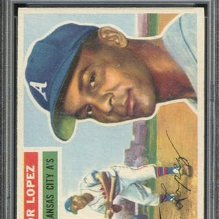 1956 TOPPS 16 HECTOR LOPEZ WHITE BACK PSA NM-MT 8 coin