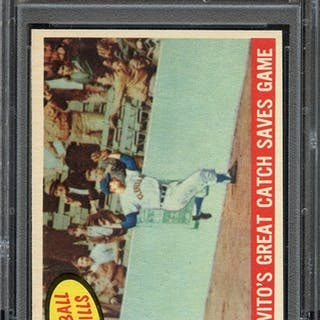 1959 TOPPS 462 COLAVITO'S GREAT CATCH SAVES GAME PSA NM-MT 8 coin