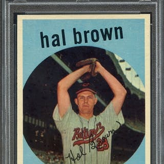 1959 TOPPS 487 HAL BROWN PSA NM-MT 8 coin