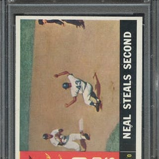 1960 TOPPS 385 WORLD SERIES GAME 1 NEAL STEALS SECOND PSA NM-MT 8 coin