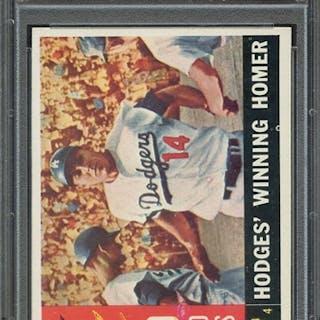 1960 TOPPS 388 WORLD SERIES GAME 4 HODGES' WINNING HOMER PSA NM-MT 8 coin
