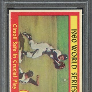 1961 TOPPS 309 WORLD SERIES GAME 4 CIMOLI SAFE IN CRUCIAL... PSA NM 7 coin