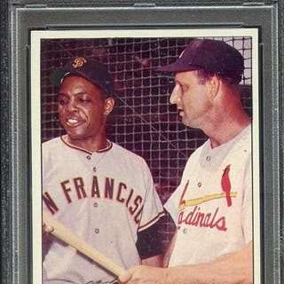 1963 TOPPS 138 PRIDE OF N.L. W.MAYS/S.MUSIAL PSA NM 7 coin
