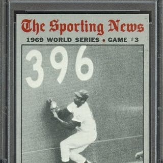 1970 TOPPS 307 WORLD SERIES GAME 3 AGEE'S CATCH SAVES... PSA NM-MT 8 coin