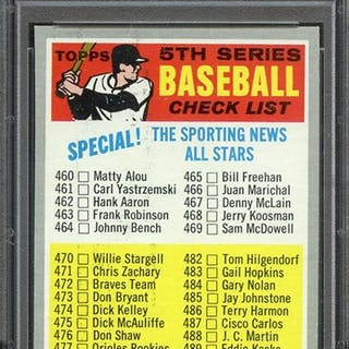 """1970 TOPPS 432 CHECKLIST 460-546 """"BASEBALL"""" FRONT YELLOW PSA NM-MT 8 coin"""