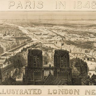 Paris.- Illustrated London News (The) Paris in 1848, panoramic view