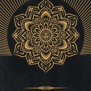 Shepard Fairey (b. 1970) Obey Lotus Diamond (Black & Gold), Shepard