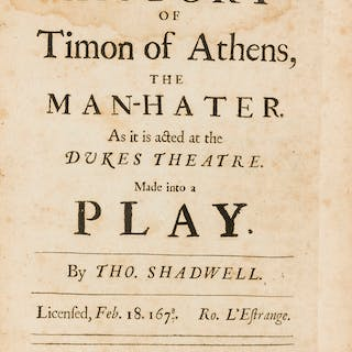 Shadwell (Thomas) The History of Timon of Athens, The Man-Hater, first