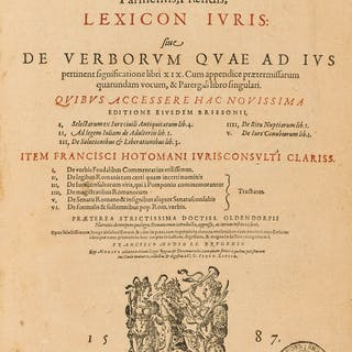 Brisson (Barnabe) Lexicon Iuris, 3 parts in 1, Frankfurt, Johannes