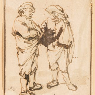 Ostade (Adriaen Jansz van, 1610-1685), attributed to. Two Peasants