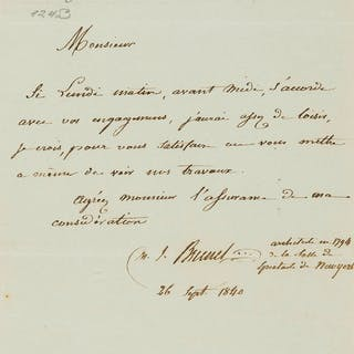 Brunel (Marc Isambard) Autograph Letter signed to M. Charpentie, in