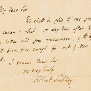 Southey (Robert) Autograph Letter signed, n.d. Southey (Robert), Autograph