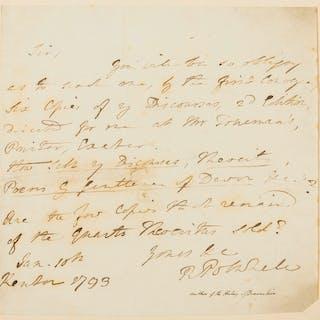 Polwhele (Rev. Richard) Autograph Letter signed, 1793. Polwhele (Rev.