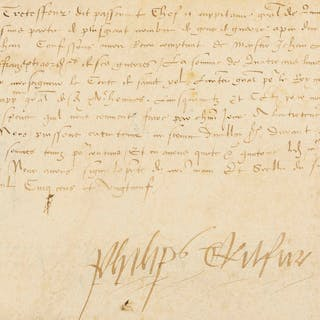 Mercenaries.- Francis I Agreement signed by Philip Tretefleur, Captain-General