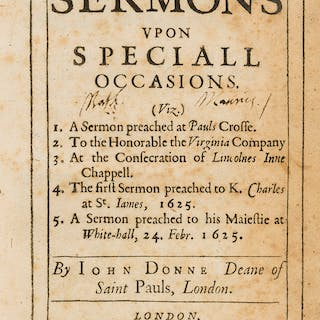 Donne (John) Five Sermons upon Speciall Occasions, 1626. Donne (John)