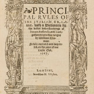 Thomas (William) Principal rules of the Italian grammer, with a dictionarie