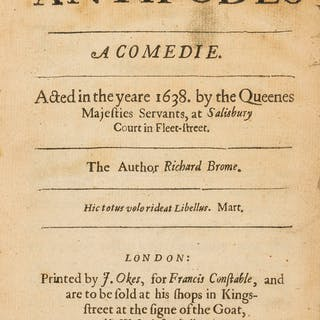 Brome (Richard) The Antipodes: a Comedie, first edition, 1640. Brome