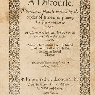 Popery.- Carlile (Christopher) A Discourse. Wherein is plainly proved