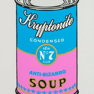 Meme Machine Kryptonite Soup Cans (four works), Meme Machine, Kryptonite