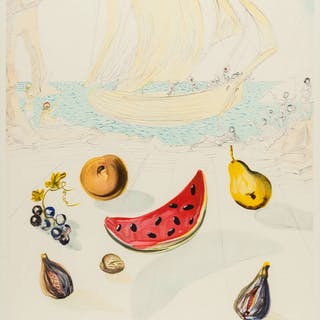 Salvador Dalí (1904-1989)(after) Ship and Fruits, Salvador Dalí (1904-1989)(afte
