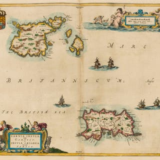 Channel Islands.- Blaeu (Willem Jansz.) Sarnia Insula, vulgo Garnsey: